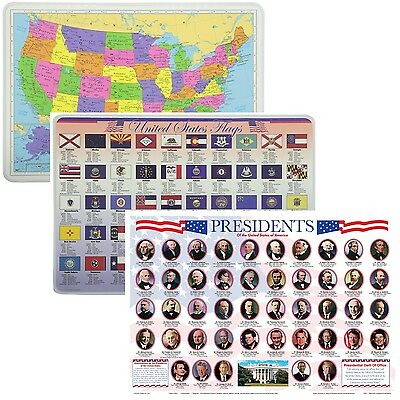 Painless Learning Educational Placemats USA Map Presidents and State Flags Set