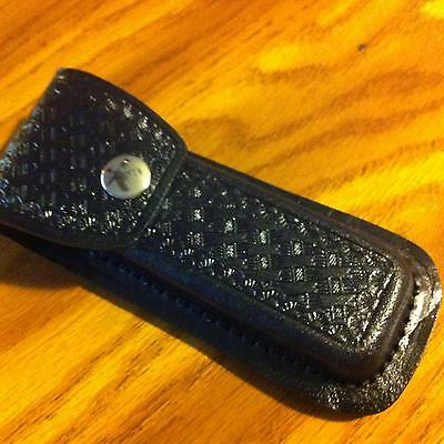 Black Embossed Basketweave Design Leather Sheath Fits 41 2  To 51 4  Knife Sh202