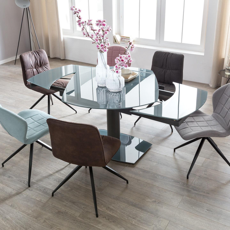 Esszimmertisch 120 - 180 cm ausziehbar Küchentisch Esstisch Metall Glas Tisch