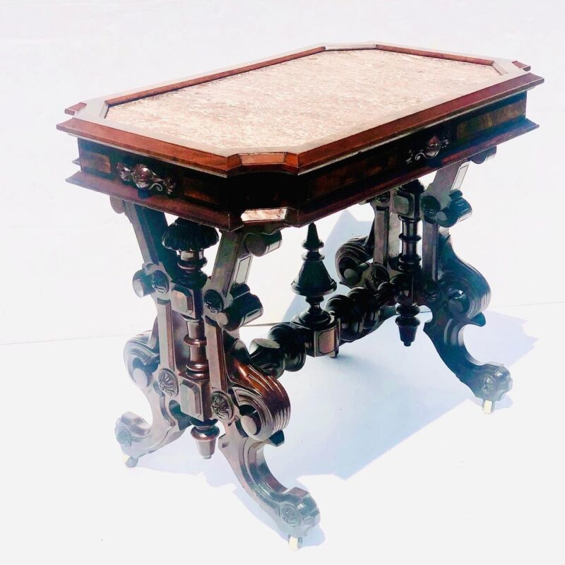 Exceptional American Victorian Marbletop Parlor Table