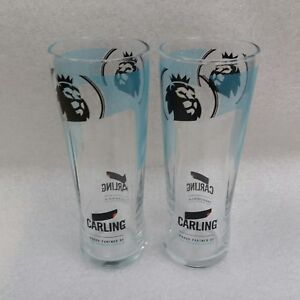 Two Stunning Special Edition Carling Lager Pint Glasses  NEW - Home Bar - Pub
