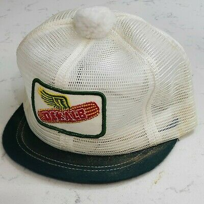 Vintage DEKALB Snapback Pom Hat Mesh Patch Cap Made in the USA