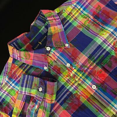 Mens Polo Ralph Lauren Multicolor Floral Plaids Oxford Golf Dress Shirt Size XL Mens Oxford Golf Shirt