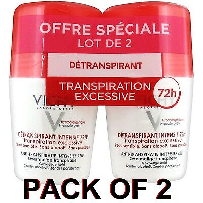 Vichy Deodorant Stress Resist Anti-Perspirant Roll-On 72h (2x 50ml)