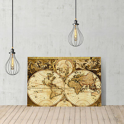 - Decorative Canvas Print United Old World Map Wall Décor Ready To Hang