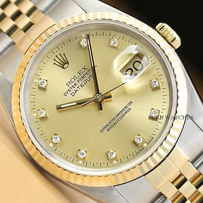 ROLEX MENS DATEJUST 16233 FACTORY DIAMOND DIAL 18K YELLOW GOLD & STEEL WATCH 18k Yellow Gold Mens Bracelet