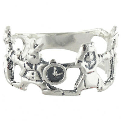 Alice in Wonderland Ring - 925 Sterling Silver - White Rabbit Queen Alice NEW](Alice In Wonderland Queen)