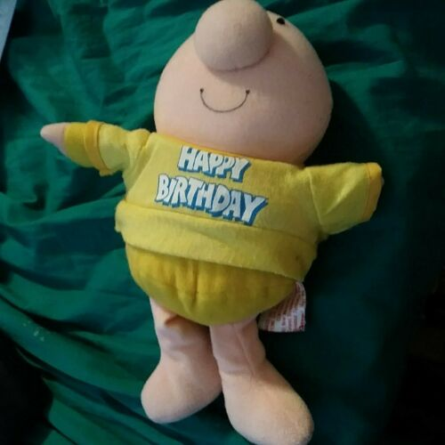 "ZIGGY ""HAPPY BIRTHDAY""  PLUSH DOLL Yellow T-Shirt-1981 -Free Shipping"