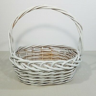 White Woven Wicker Easter Basket Oval Distressed Fixed Handle Gathering](White Easter Basket)