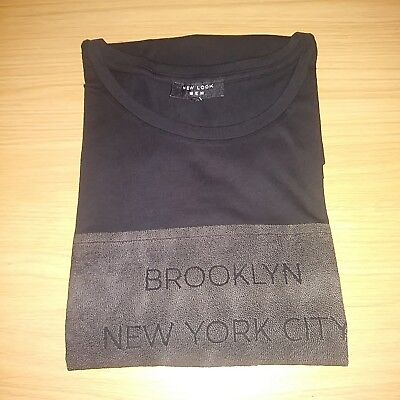 New Look Men Embossed Black T-shirt New York Size L new free P+P .BARGAIN.