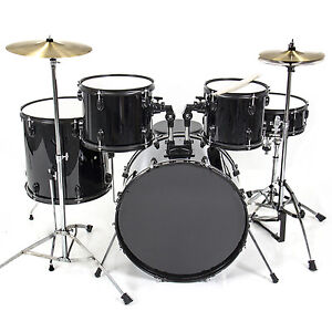 Drum_Set_5_PC_Complete_Adult_Set_Cymbals_Full_Size_Black_New_Drum_Set