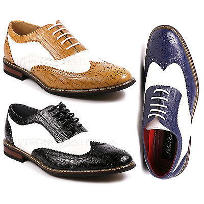 Perforated Wing Tip - Metrocharm Frank-03 Men's Two Tone Wing Tip Perforated Lace Up Oxford Dress Shoe