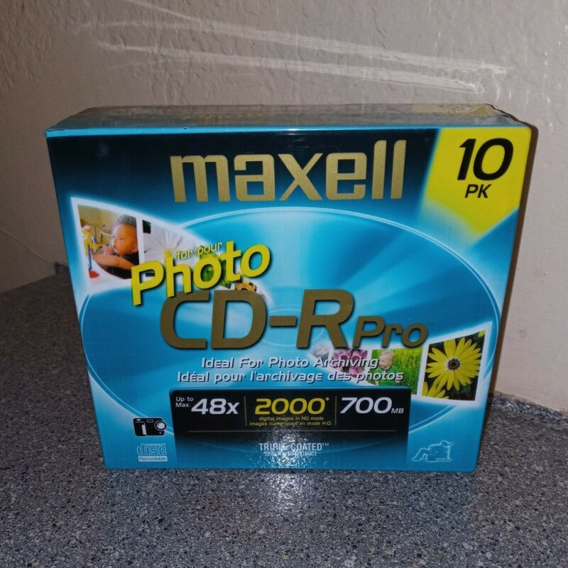 MAXELL 10 Pack Photo CD-R Pro Compact Disc 48x 2000 Digital Images 700MB SEALED