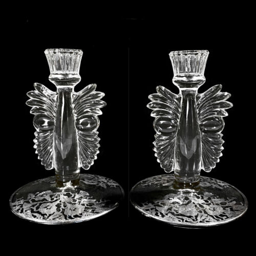 Antique Art Deco Pressed Glass Candlestick Holders w/ Sterling Silver - A Pair