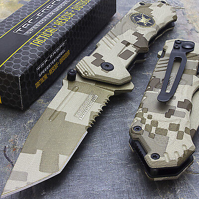"""8"""" TANTO SPECIAL FORCES SPRING ASSISTED TACTICAL FOLDING KNIFE Pocket Blade Open"""