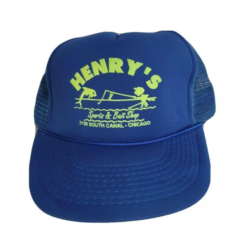 Vintage Henrys Sports & Bait Shop Chicago Snapback Mesh Rope Trucker Hat Blue