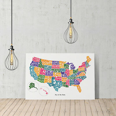 Decorative Canvas Print Design United States Usa Map D Cor Ready To Hang