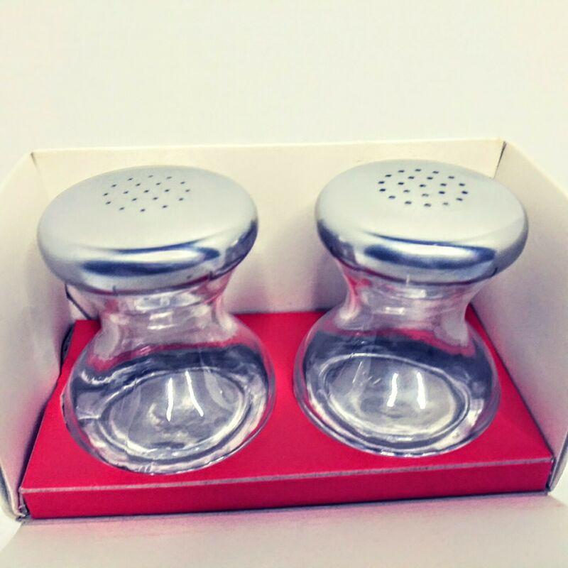 German Mid Century Modern stainless steel  glass salt/ pepper shakers by WMF