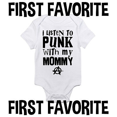 Punk-baby Onesies (Punk Music With Mommy Baby Onesie Shirt Mom Shower Gift Newborn Clothes Gerber)
