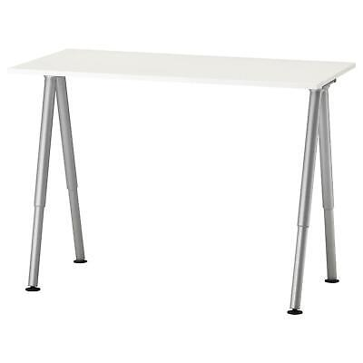 Ikea Thyge White Silver Adjustable Height Work Surface Table Computer Task Desk White Work Surface
