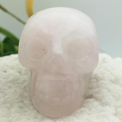 """1.5"""" Rose Quartz Natural Crystal Carved Skeleton Realistic Healing Skull #7367"""