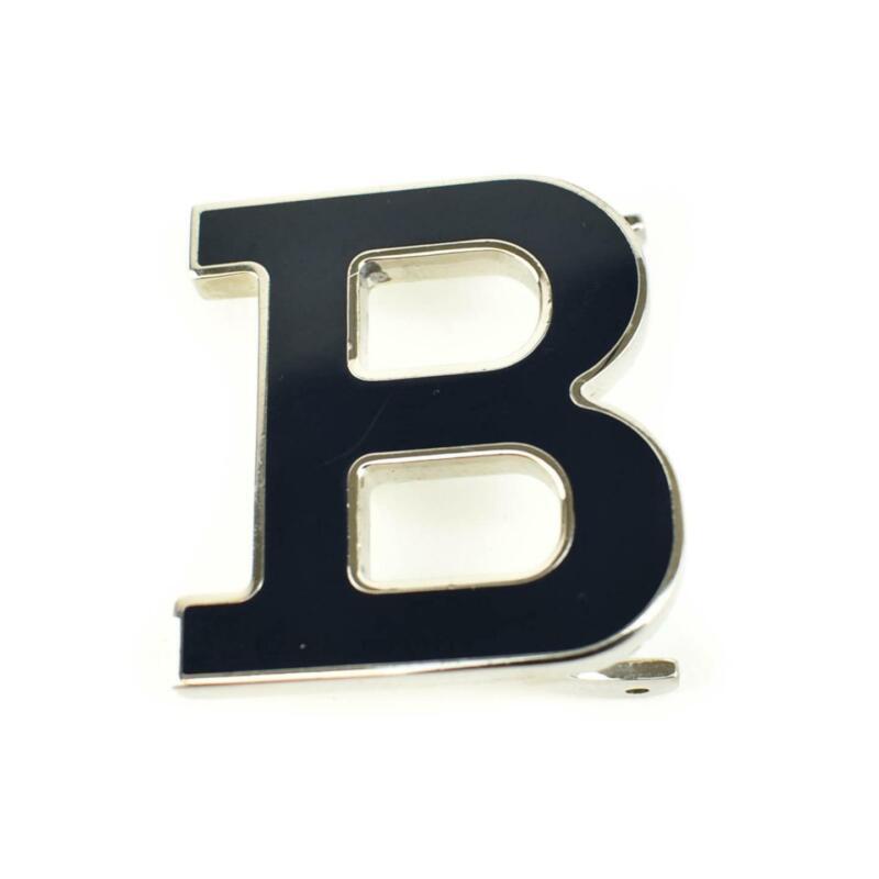"BALLY: Silver/Black, Metal ""B"" Belt Buckle (mp) Unisex"