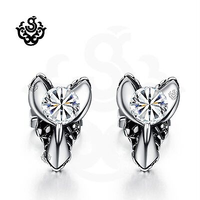 Silver stud made with clear swarovski crystal earrings claw soft Gothic