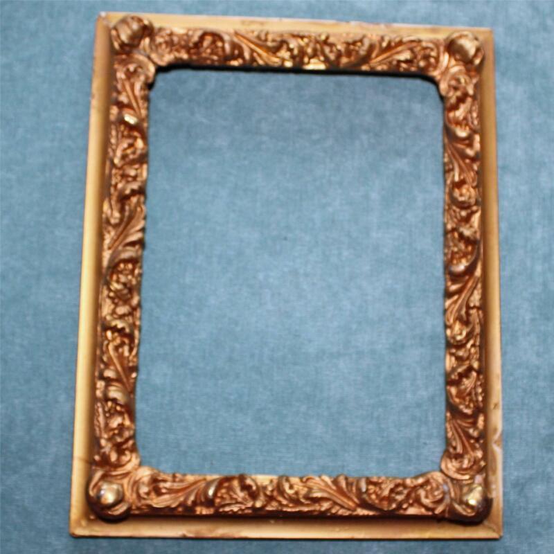 "Antique Sculpted Gold Wood Frame, 8"" X 10"" Exterior"
