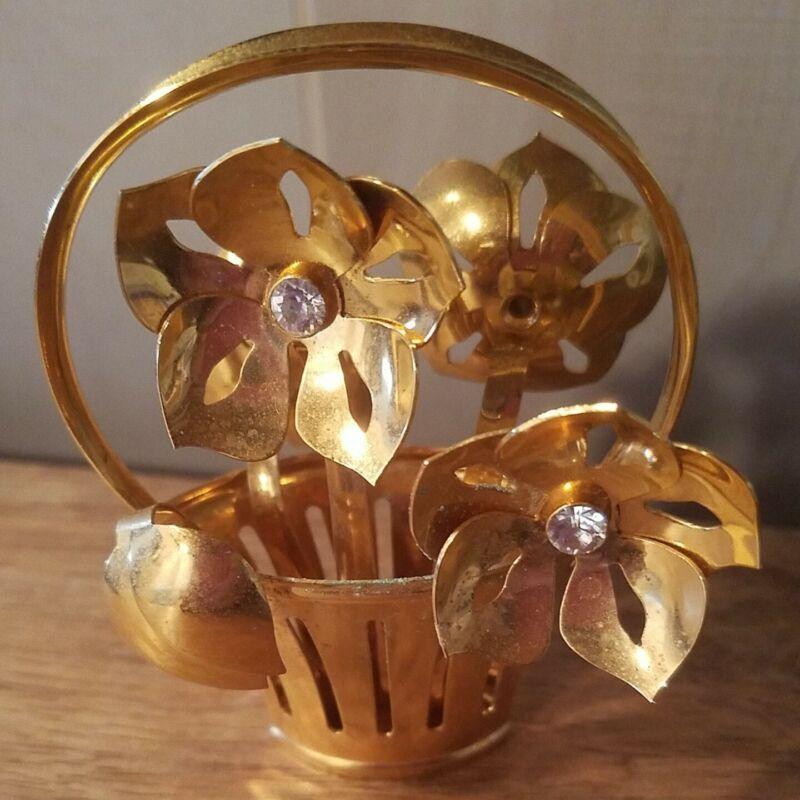 Georg Jensen Denmark Basket of Flowers Gold Plated 2008