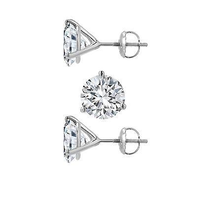 Martini Stud Earrings 3 Carat Round Diamond Cut Solid 14k White Gold Screw Back ()