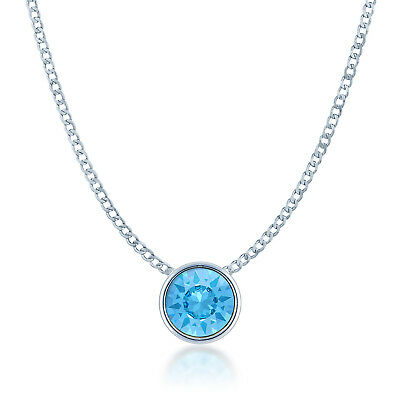 Small Pendant Necklace w Blue Aquamarine Round Crystals from Swarovski Rhodium Aquamarine Swarovski Crystal Pendant