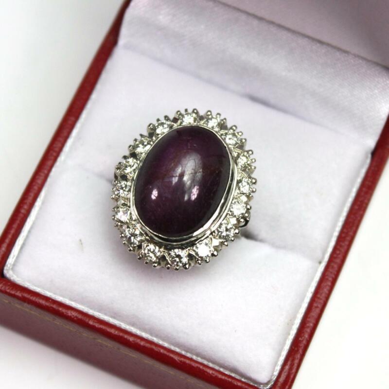 Vintage GIA Certified 13 Ct Star Ruby Diamond 14K White Gold Cocktail Ring Sz 6
