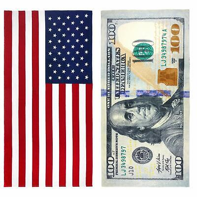 KAUFMAN - 100 Dollar Bill & American Flag Printed Beach Towel Set 30x60 (101910)