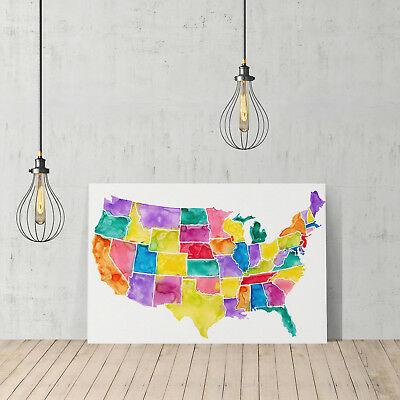 Decorative Canvas Print Design United States Usa Map Wall D Cor Ready To Hang