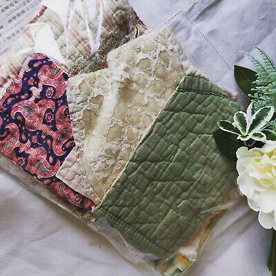 Hand Dyed Vintage Fabric Antique Quilt Durham Slow Stitch Patchwork Craft Pack 4
