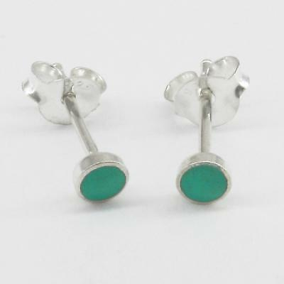 4mm Turquoise 'Button' Post Earrings in SOLID 925 Sterling Silver - NEW! Blue Sterling Silver Earrings
