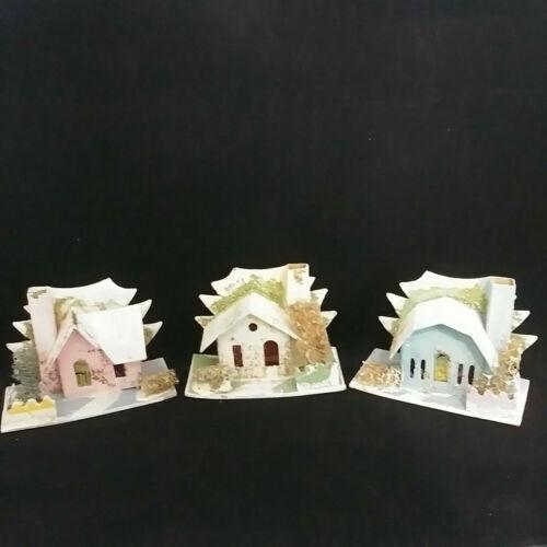 3 Vintage Christmas Village Mini Mica Cardboard Putz Houses Loofa Trees