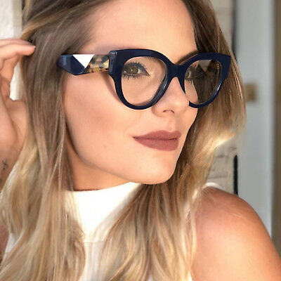 Fashion Brand Sexy Cat Eye Glasses Women Eyeglasses Retro Spectacles Wide temple ()