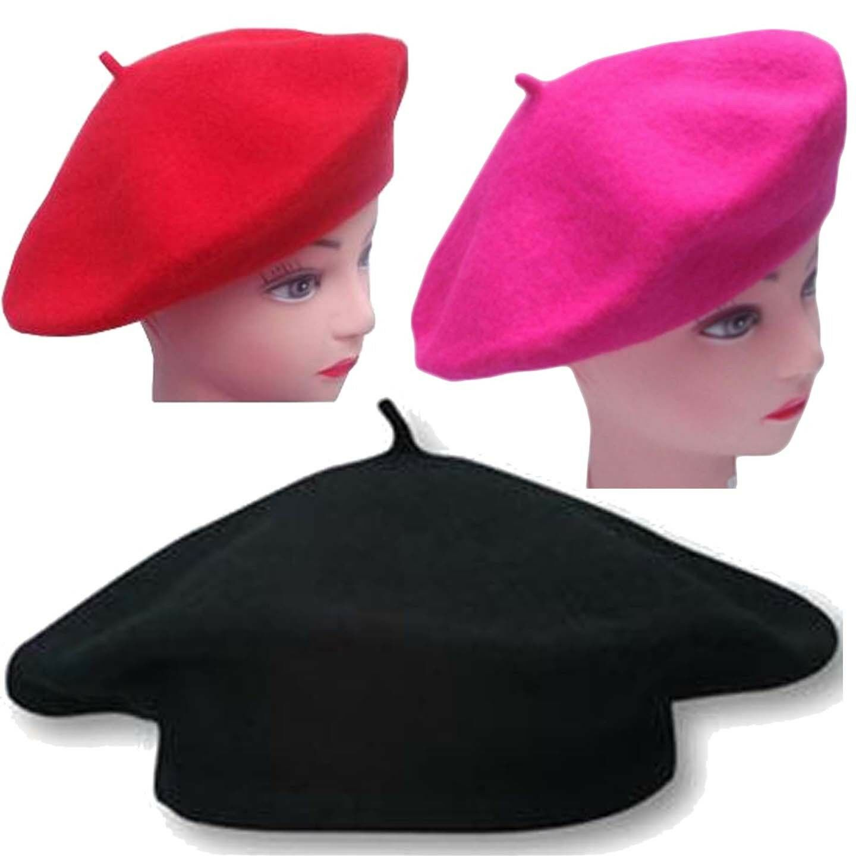New Ladies & Girls Women Beret Hat Black Red Beret Hats ...