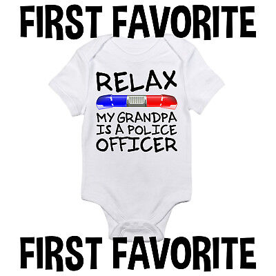 Grandpa Police Officer Baby Onesie Shirt Shower Gift Newborn Clothes Gerber (Office Baby Shower)