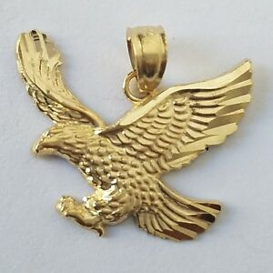 Solid real 14k Yellow Gold Eagle Pendant charm 19 mm .70 inch long