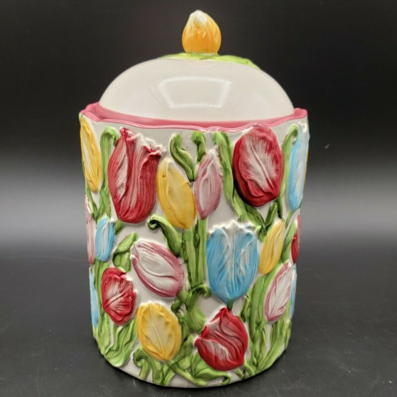 Temp-tations Figural Floral Biscuit Jar 1QT with Lid Tulips Ceramic Canister
