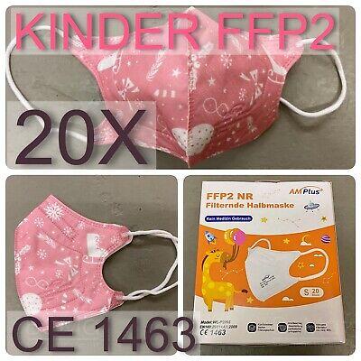 FFP2 MASKEN, Kindergröße, dt. Verpackung, pink, rosa, CE1463, Atemschutz, 20x