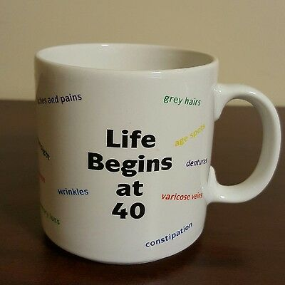 Signs of Aging Funny Older Adult Happy Birthday Coffee Mug Life Begins At 40 - Signs Of Birthday