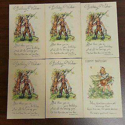 Happy Birthday Scriptures (Scripture Lot of 6 Happy Birthday Wishes Religious Christian)