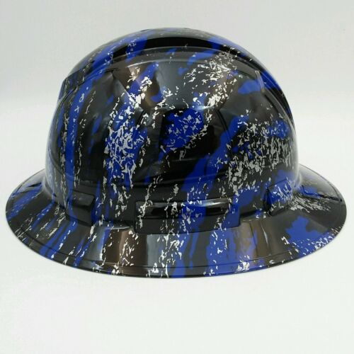 Hard Hat FULL BRIM custom hydro dipped , OSHA approved URBAN CAMO BLUE SPLASH 1