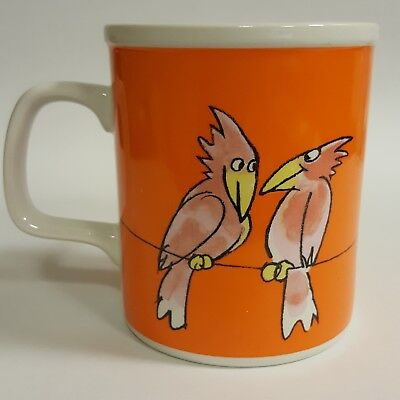 1985 Two Birds on a Limb Orange Coffee Mug Friends Definition B65