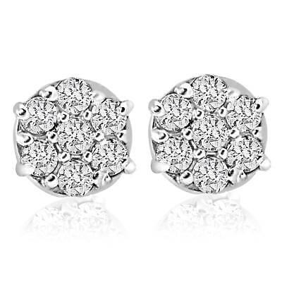 1/4cttw Diamond Cluster Studs in 10k White Gold Womens Earrings
