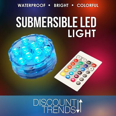 Submersible 10 LED Waterproof Light RGB for Vase Wedding Party Fish Tank Decors - Submersible Led