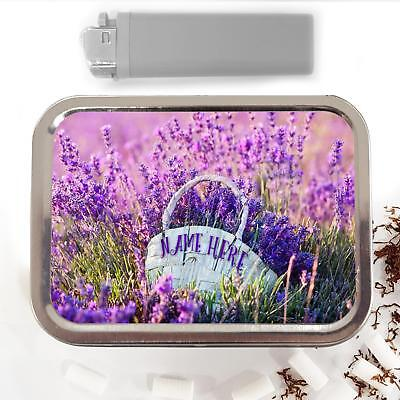 Lavender Field Basket Flower 2oz Tobacco Tin Baccy Pouch Personalised Gift (Lavender Fields Gift Basket)